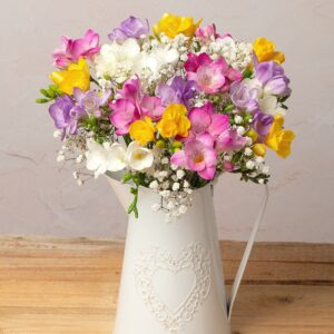 Freesias and Gypsophila